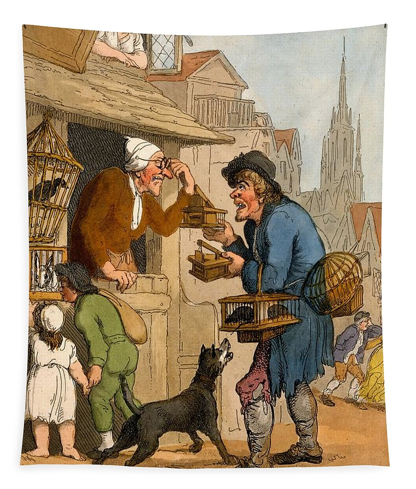 Rat Trap Tapestry featuring the drawing The Rat Trap Seller From Cries by Thomas Rowlandson