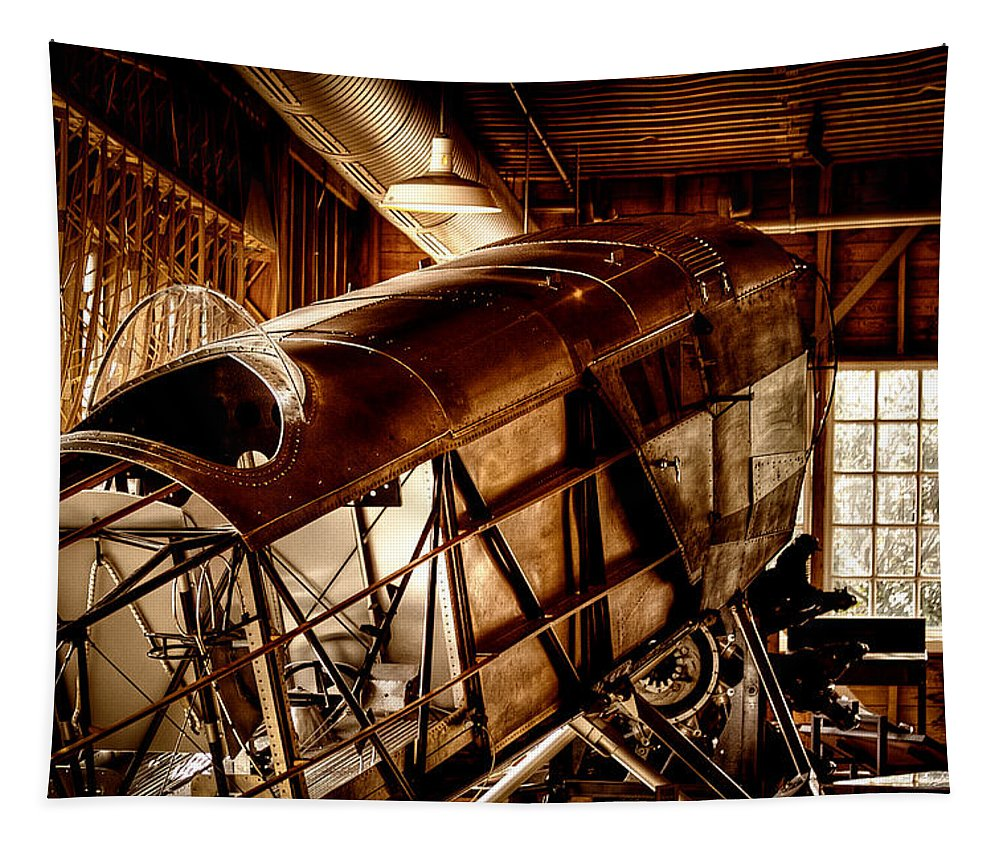 David Patterson Tapestry featuring the photograph The Red Barn Of The Boeing Company II by David Patterson