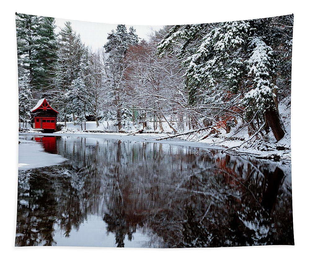 The Red Boathouse On The Narrows Tapestry featuring the photograph Red Boathouse On Beaver Brook by David Patterson