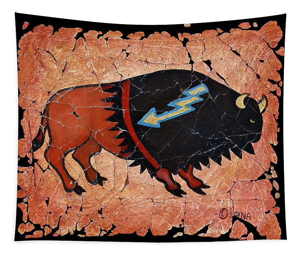 Red Bison Tapestry featuring the painting The Red Buffalo Fresco by OLena Art Brand