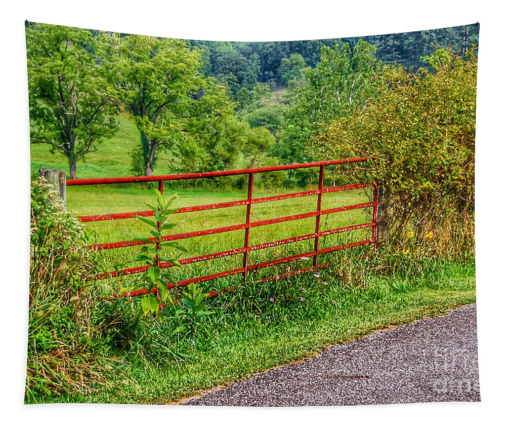 Red Gate Tapestry featuring the photograph The Red Gate by Kerri Farley