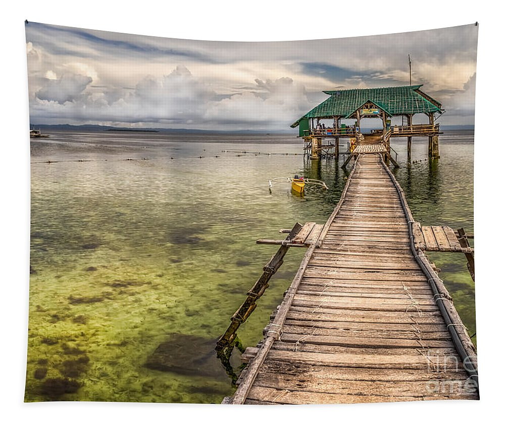 Pier Tapestry featuring the photograph The Rickety Pier by Adrian Evans