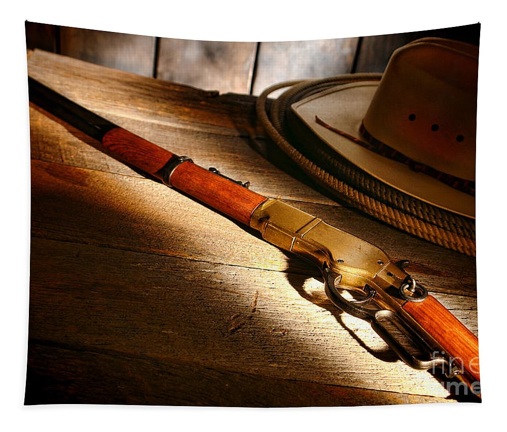 Western Tapestry featuring the photograph The Rifle by Olivier Le Queinec