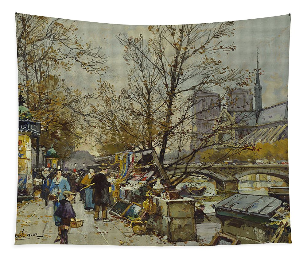 Rive Gauche Tapestry featuring the painting The Rive Gauche Paris With Notre Dame Beyond by Eugene Galien-Laloue