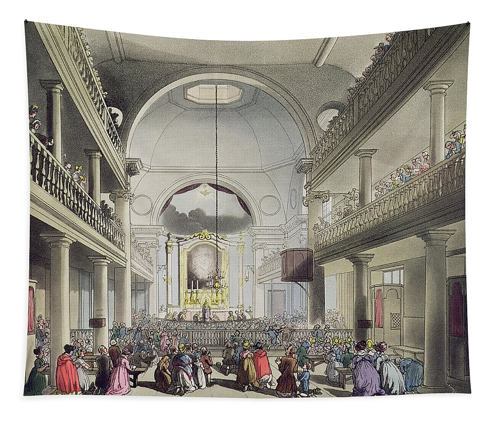 Interior Tapestry featuring the drawing The Roman Catholic Chapel, Lincolns Inn by T. & Pugin, A.C. Rowlandson