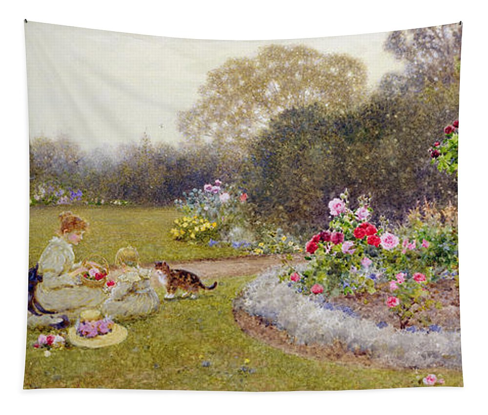 Garden Tapestry featuring the painting The Rose Garden by Thomas James Lloyd