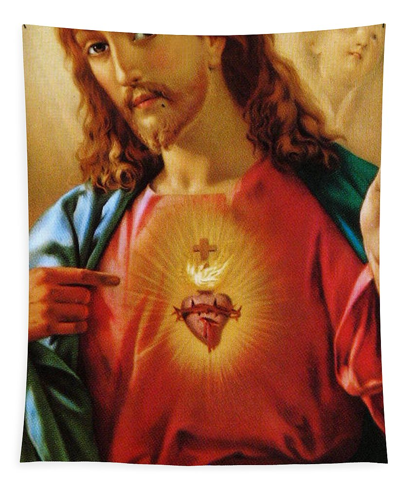 Sacred Heart Tapestry featuring the painting The Sacred Heart Of Jesus by French School