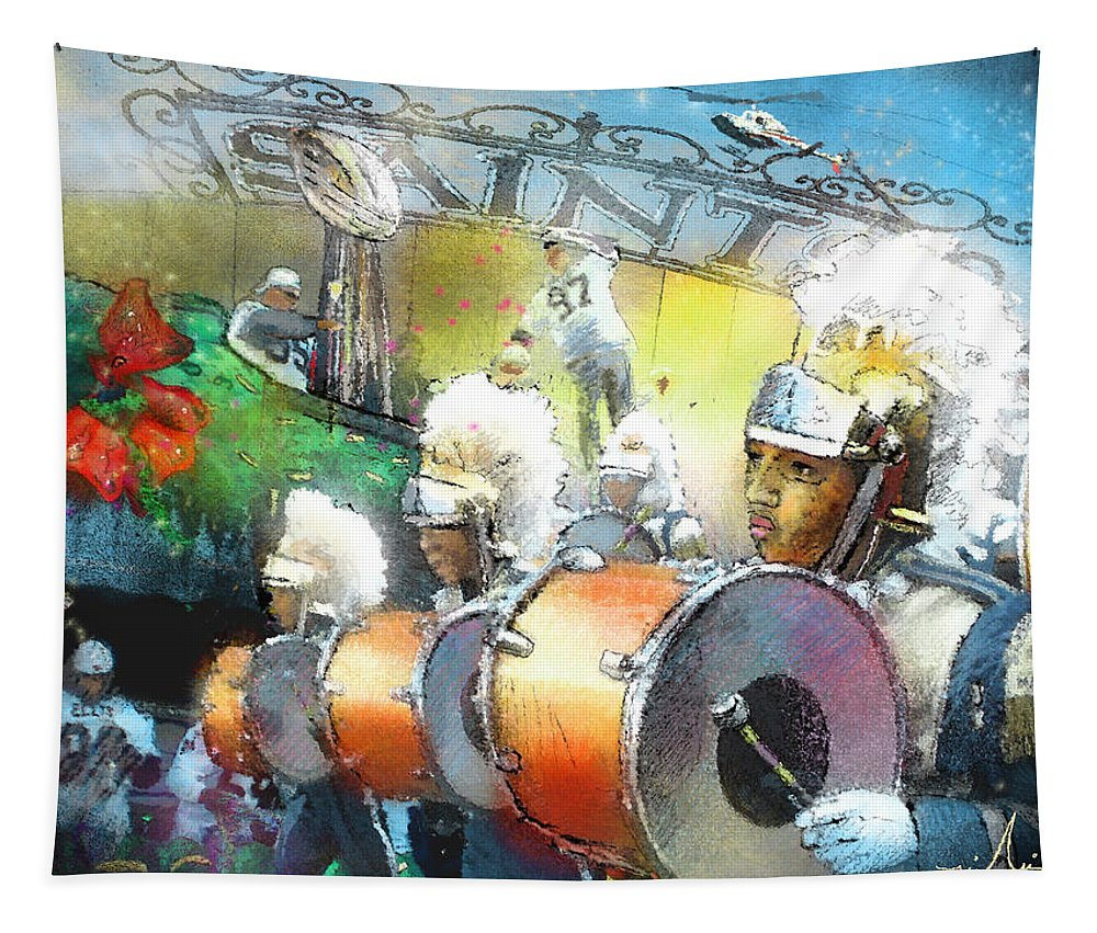New Orleans Tapestry featuring the painting The Saints Parade In New Orleans 2010 01 by Miki De Goodaboom