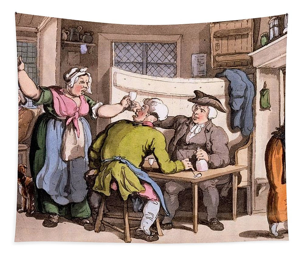 Scold Tapestry featuring the drawing The Scold, With News Of Olivia by Thomas Rowlandson