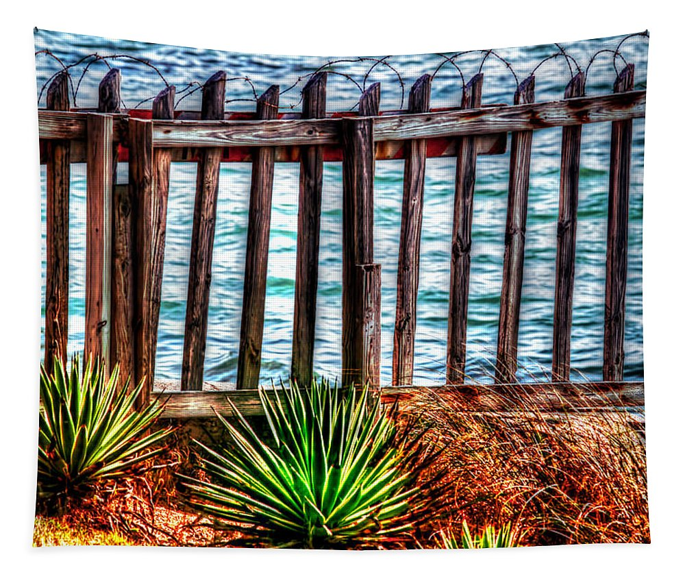 Florida Tapestry featuring the photograph The Sea Fence Siesta Key Fla. by Tom Prendergast