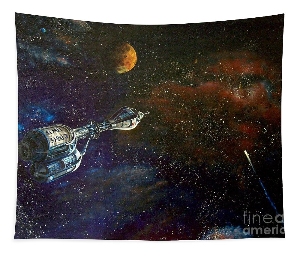 Vista Horizon Tapestry featuring the painting The Search for Earth by Murphy Elliott