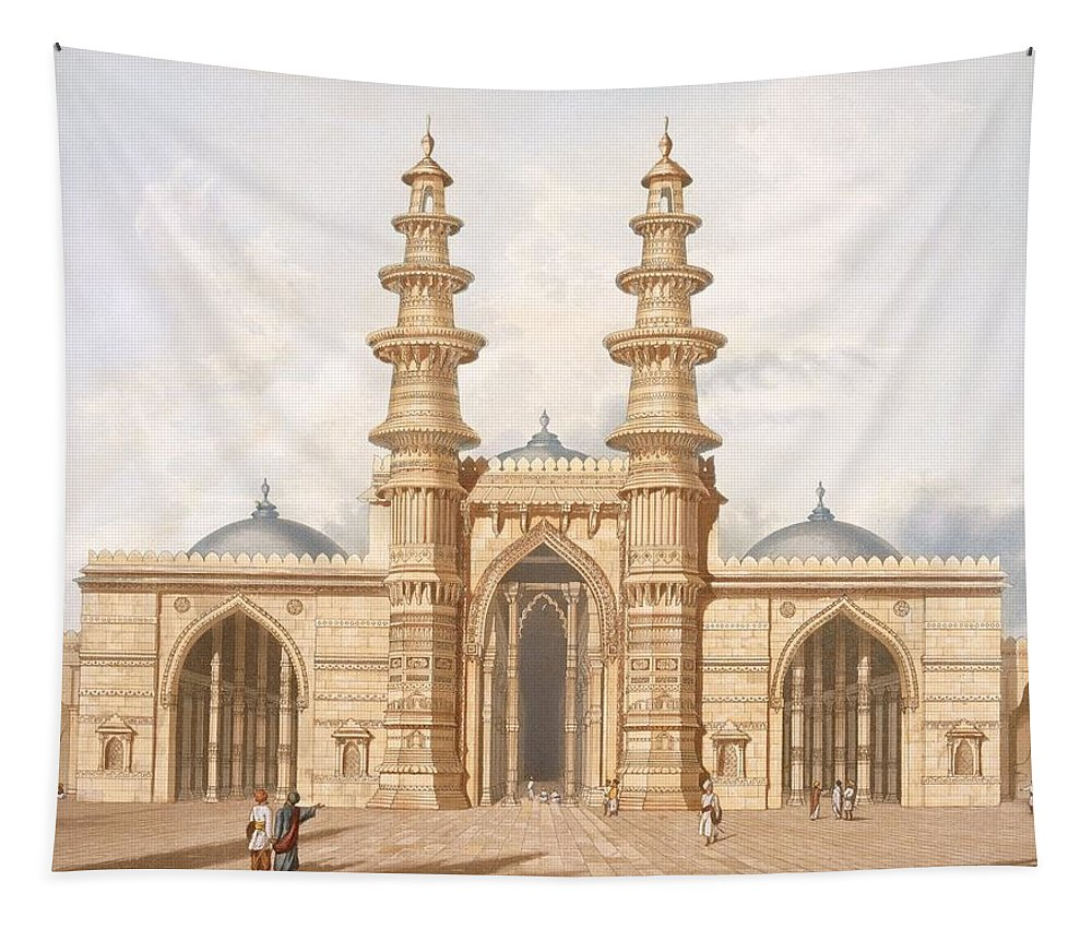 Muslim Tapestry featuring the drawing The Shaking Minarets Of Ahmedabad by Captain Robert M Grindlay