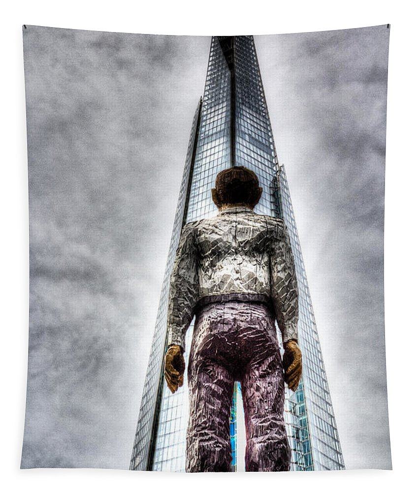 The Shard Tower Tapestry featuring the photograph The Shard And Man Statue by David Pyatt