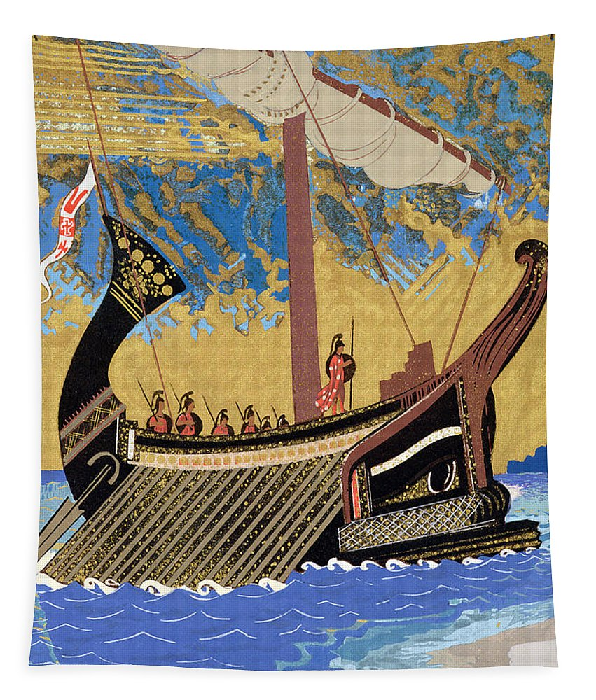 Boat Tapestry featuring the painting The Ship Of Odysseus by Francois-Louis Schmied