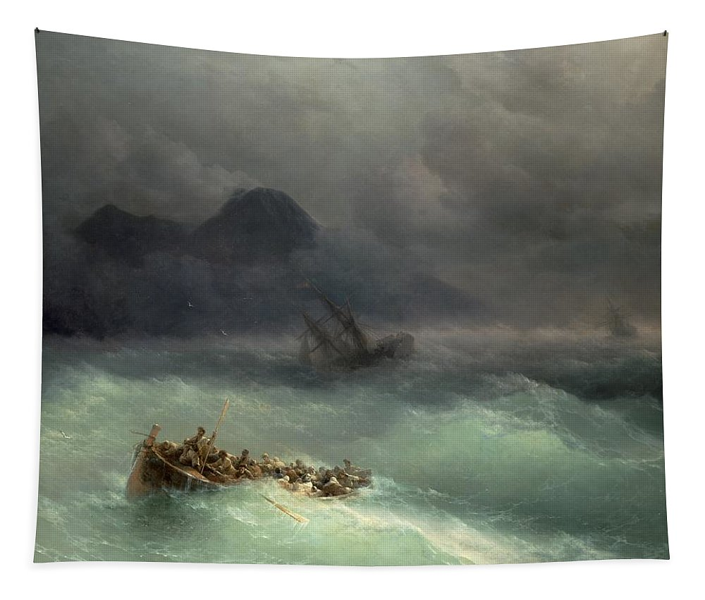 Storm Tapestry featuring the painting The Shipwreck by Ivan Konstantinovich Aivazovsky