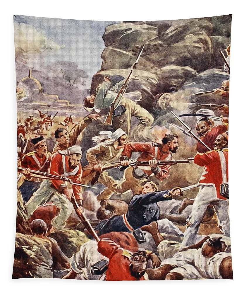 British Army Tapestry featuring the drawing The Siege Of Delhi, 1857 Storming by English School