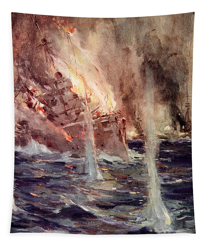 World Tapestry featuring the painting The Sinking Of The Gneisenau by Cyrus Cuneo