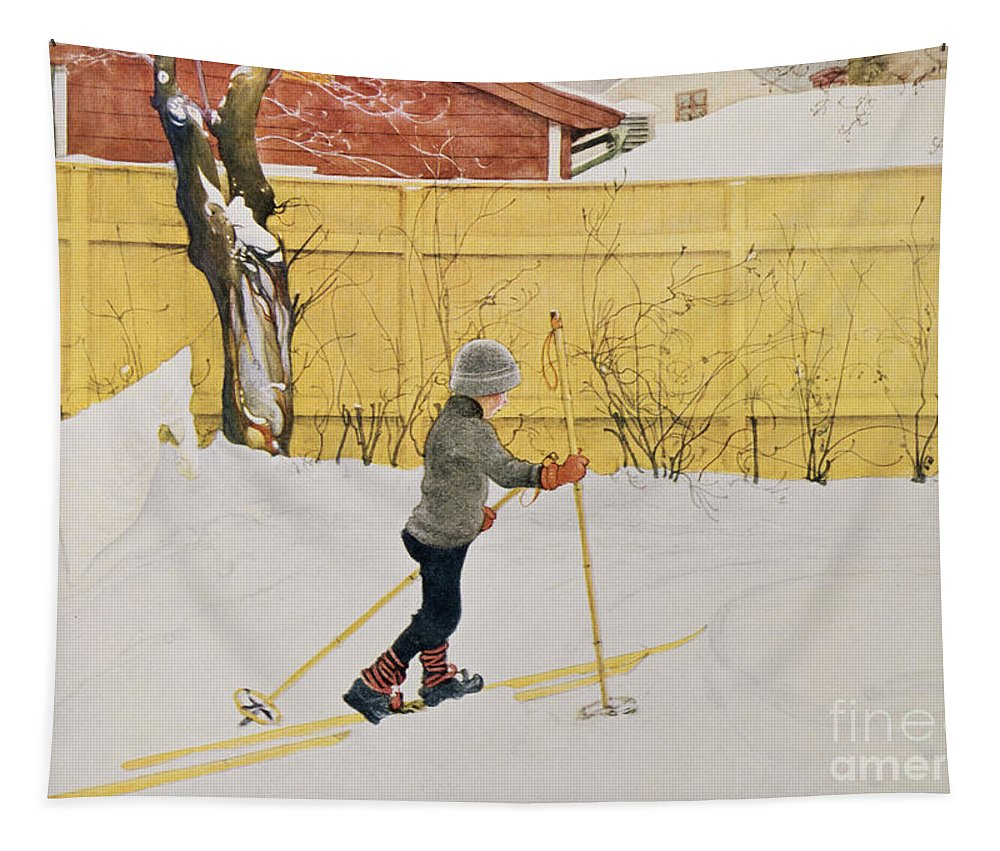 Snow Tapestry featuring the painting The Skier by Carl Larsson