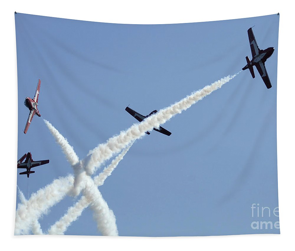 Snowbirds Tapestry featuring the photograph The Snowbirds At High Speed by Bob Christopher