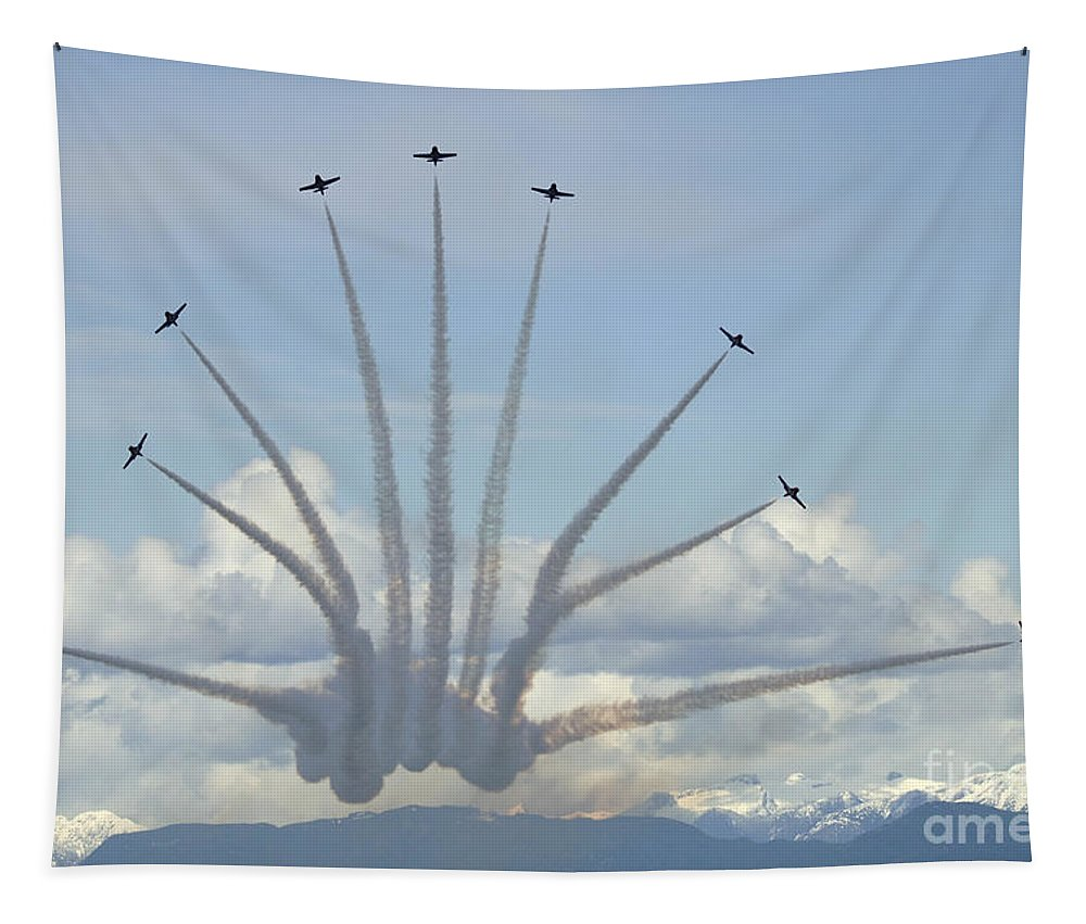 Snowbirds Tapestry featuring the photograph The Snowbirds In High Gear by Bob Christopher