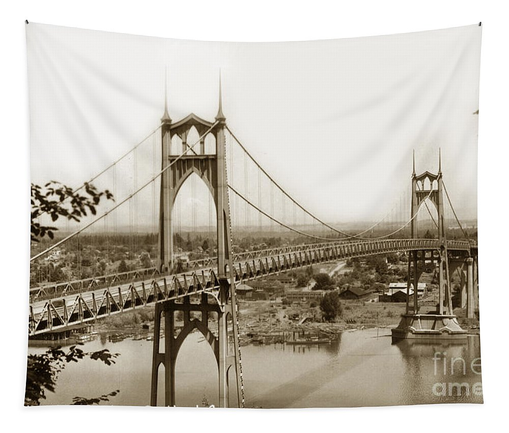 The St. Johns Bridge Tapestry featuring the photograph The St. Johns Bridge Is A Steel Suspension Bridge That Spans The Willamette River by California Views Archives Mr Pat Hathaway Archives