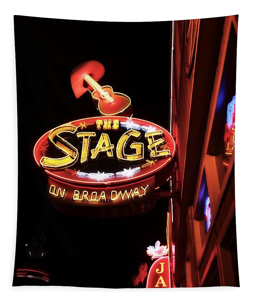 The Stage On Broadway In Nashville Tapestry featuring the photograph The Stage On Broadway In Nashville by Dan Sproul