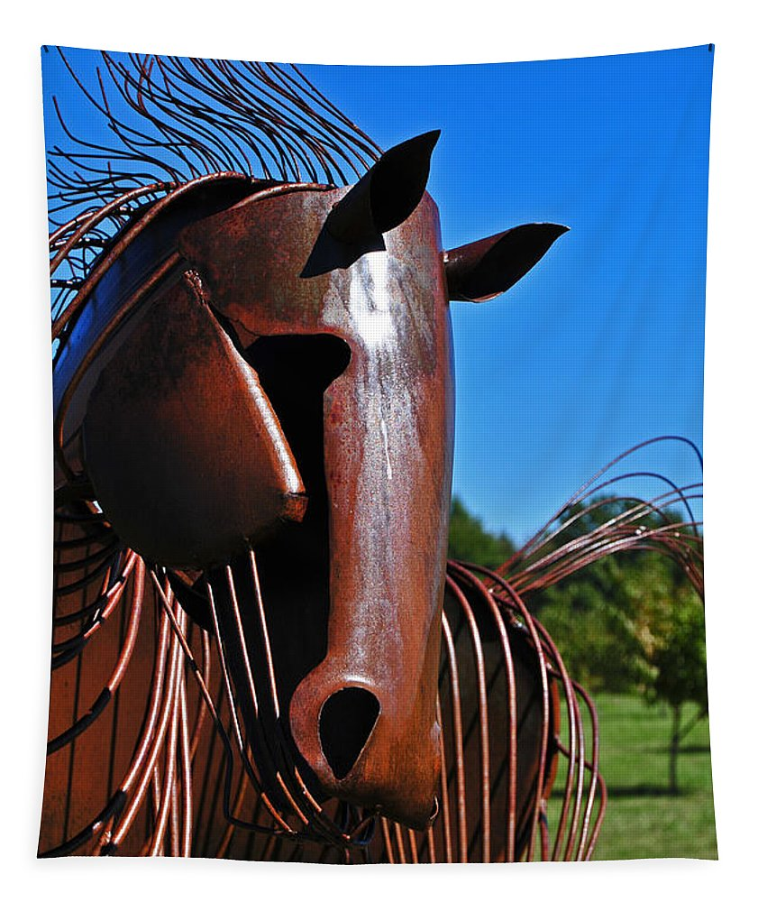 Sculpture Tapestry featuring the photograph The Stallion by Mike Martin