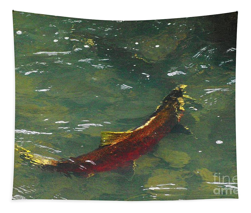 Fish Tapestry featuring the photograph The Steelhead Turns by Jeff Swan