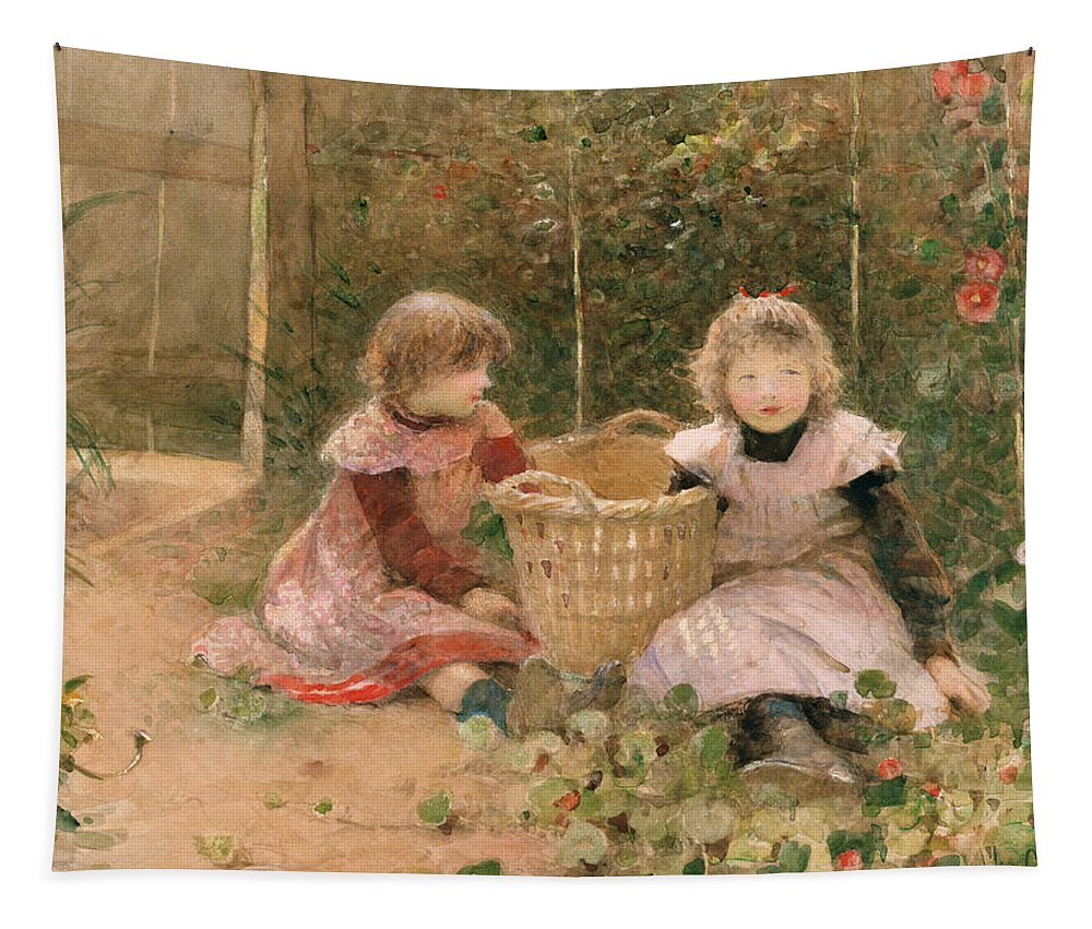 Girl Tapestry featuring the painting The Strawberry Patch by Hector Caffieri