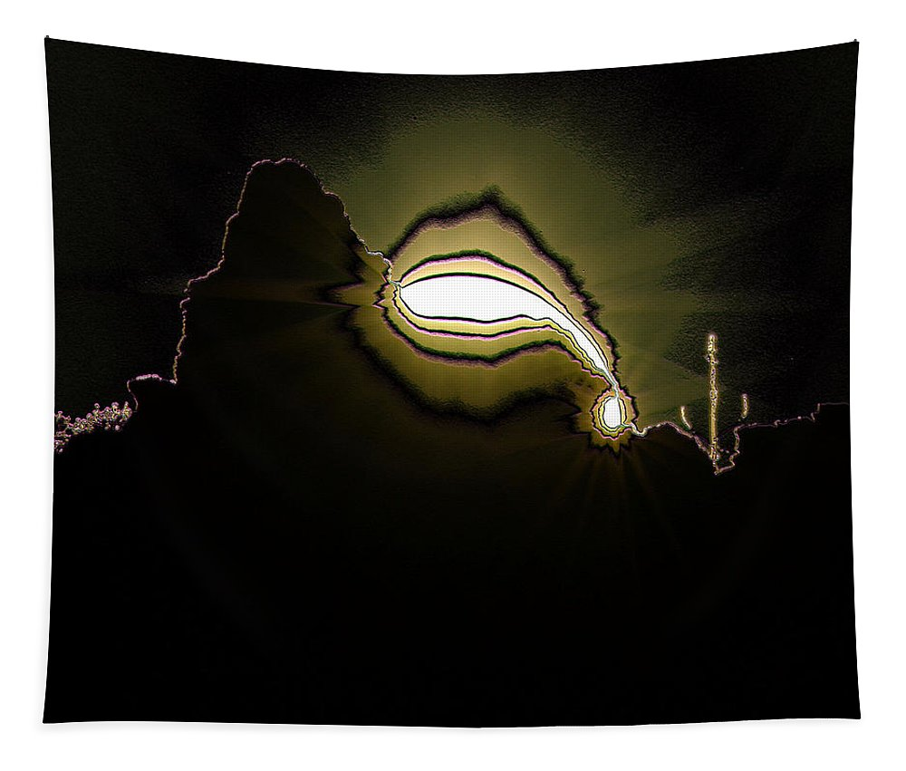 Digital Tapestry featuring the photograph The Sun Over A Jagged Hill by Jeff Swan