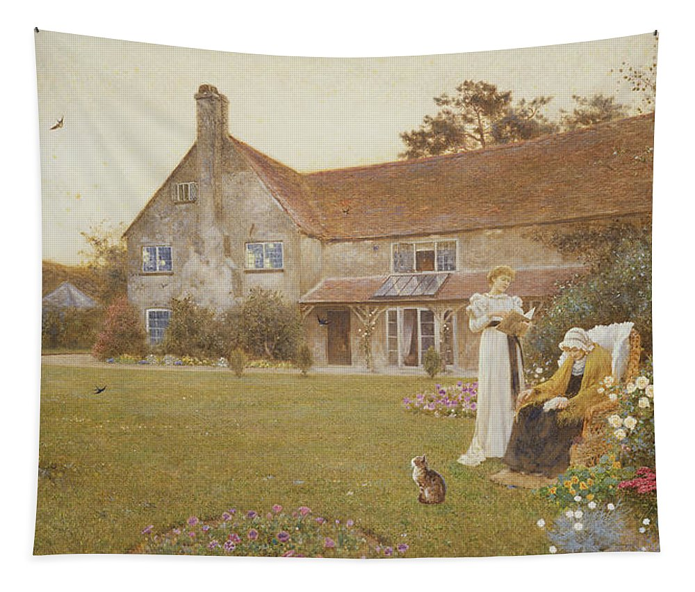 Garden Tapestry featuring the painting The Sundial by Thomas James Lloyd