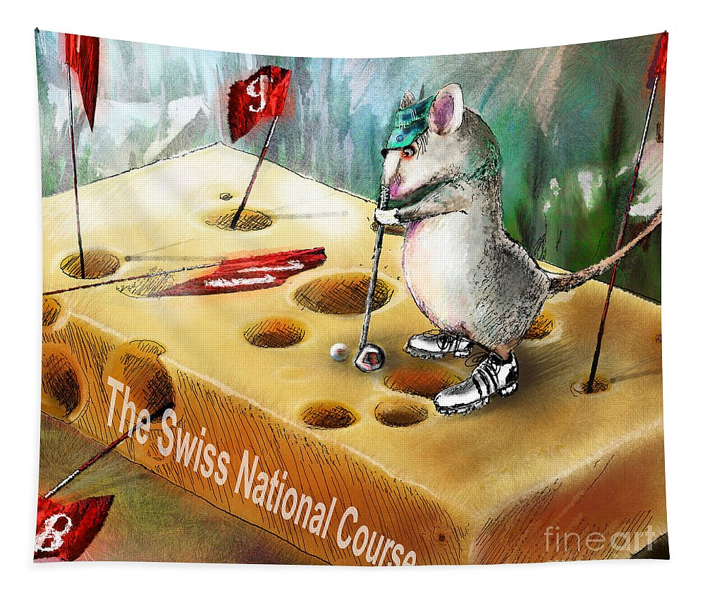 Golf Humour Tapestry featuring the painting The Swiss National Course by Miki De Goodaboom