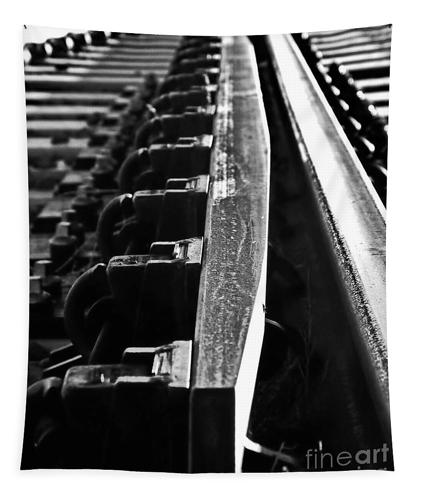 Digital Black And White Photo Tapestry featuring the digital art The Switch Bw by Tim Richards