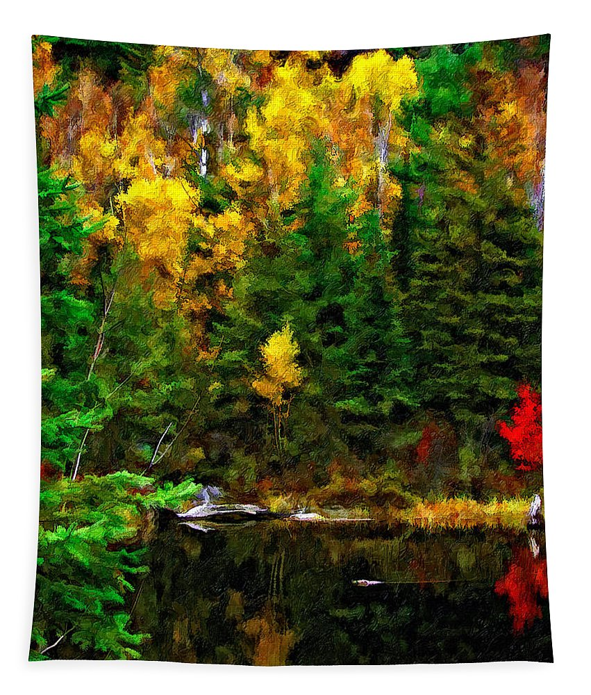 Wilderness Tapestry featuring the photograph The Tarn Paint Version by Steve Harrington