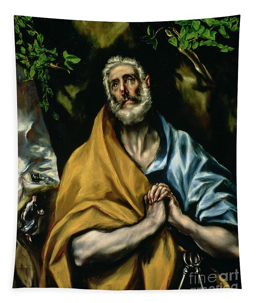 Repentance; Confession; Christs Resurrection; Angel; Leaves; Sepulchre; Mary Magdalen; Clasped Hands; Ivy Tapestry featuring the painting The Tears Of St Peter by El Greco Domenico Theotocopuli