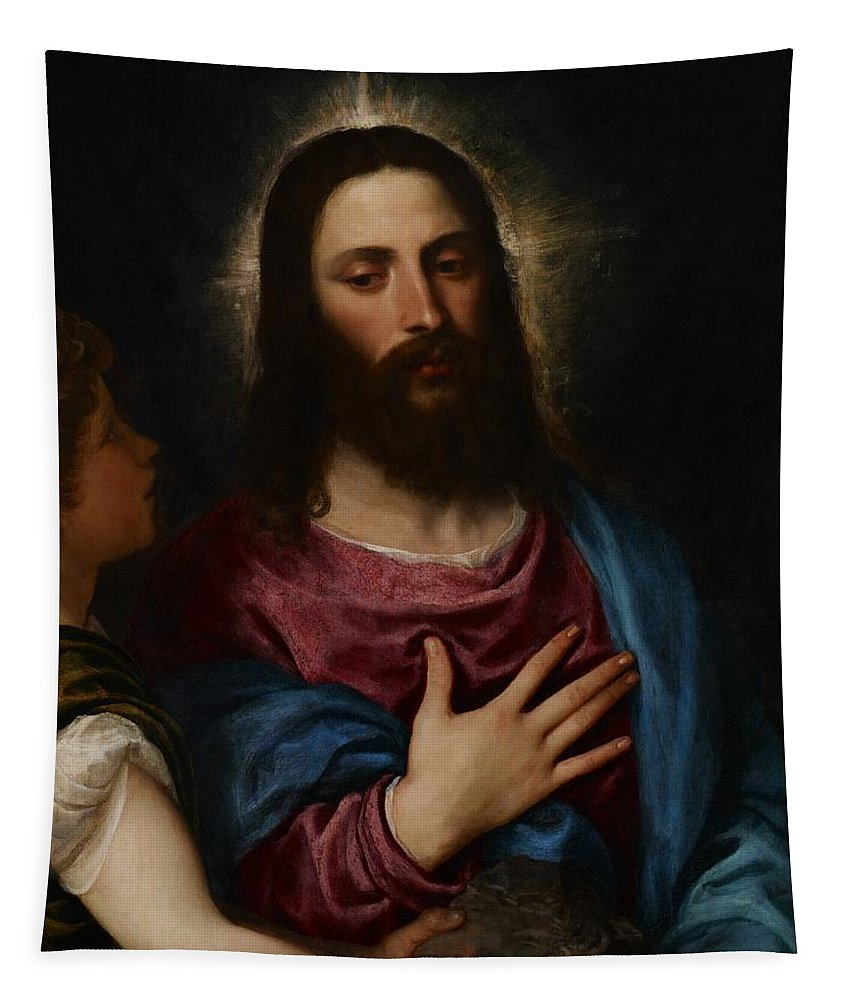 Resolve Tapestry featuring the painting The Temptation Of Christ by Titian