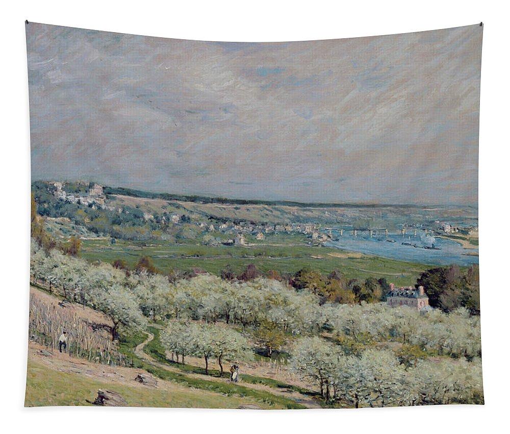 The Terrace At Saint-germain Tapestry featuring the painting The Terrace At Saint Germain by Alfred Sisley