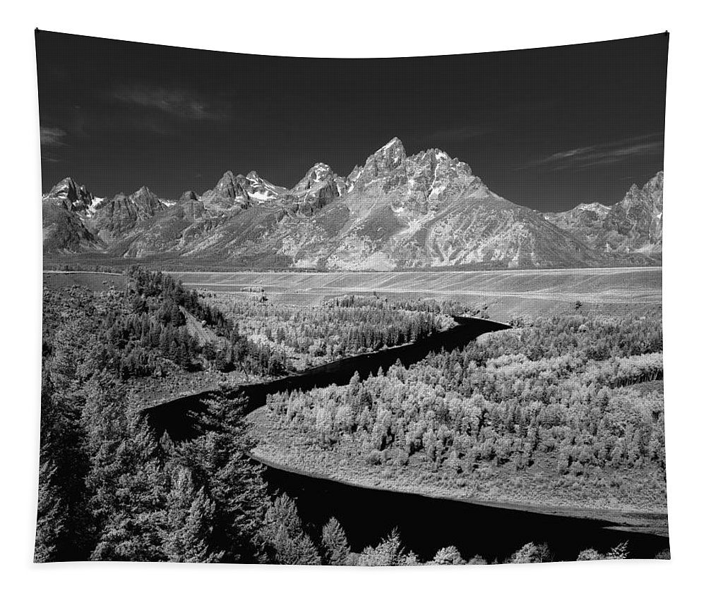 Snake River Overlook Tapestry featuring the photograph 309217-the Teton Range From Snake River Overlook by Ed Cooper Photography