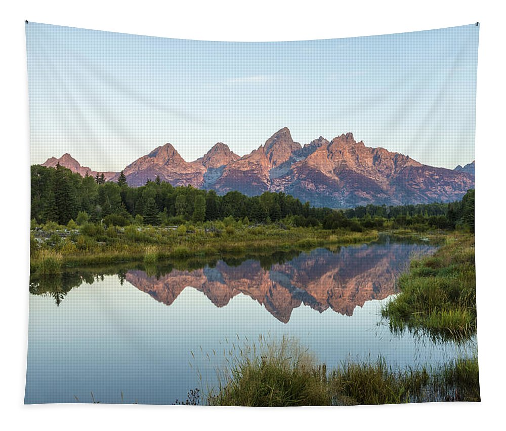 The Tetons Reflected On Schwabachers Landing Grand Teton National Park At Sunrise Tapestry featuring the photograph The Tetons Reflected On Schwabachers Landing - Grand Teton National Park Wyoming by Brian Harig