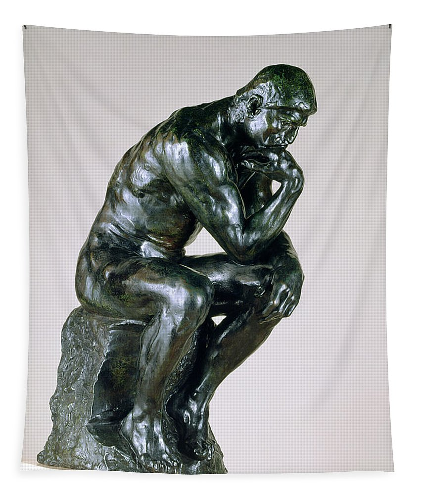 Male Tapestry featuring the painting The Thinker, 1880-81 by Auguste Rodin