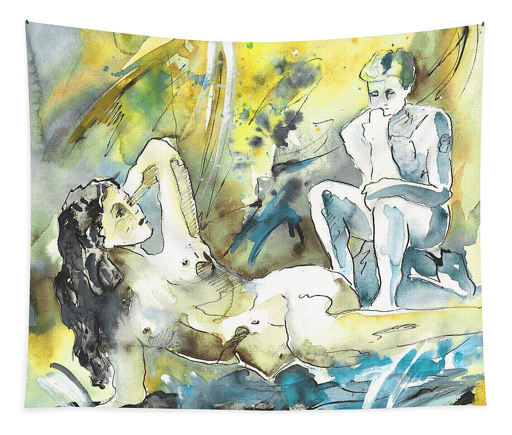 Watercolour Tapestry featuring the painting The Thinkers by Miki De Goodaboom