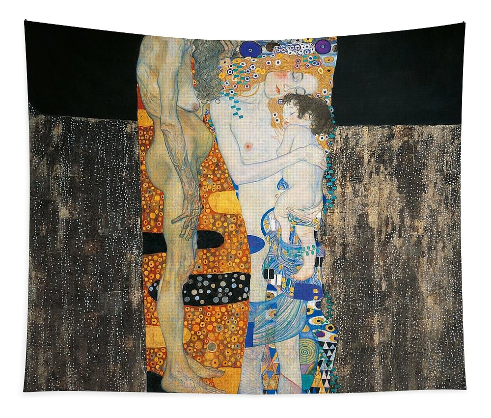 Allegory Tapestry featuring the painting The Three Ages Of Woman by Gustav Klimt