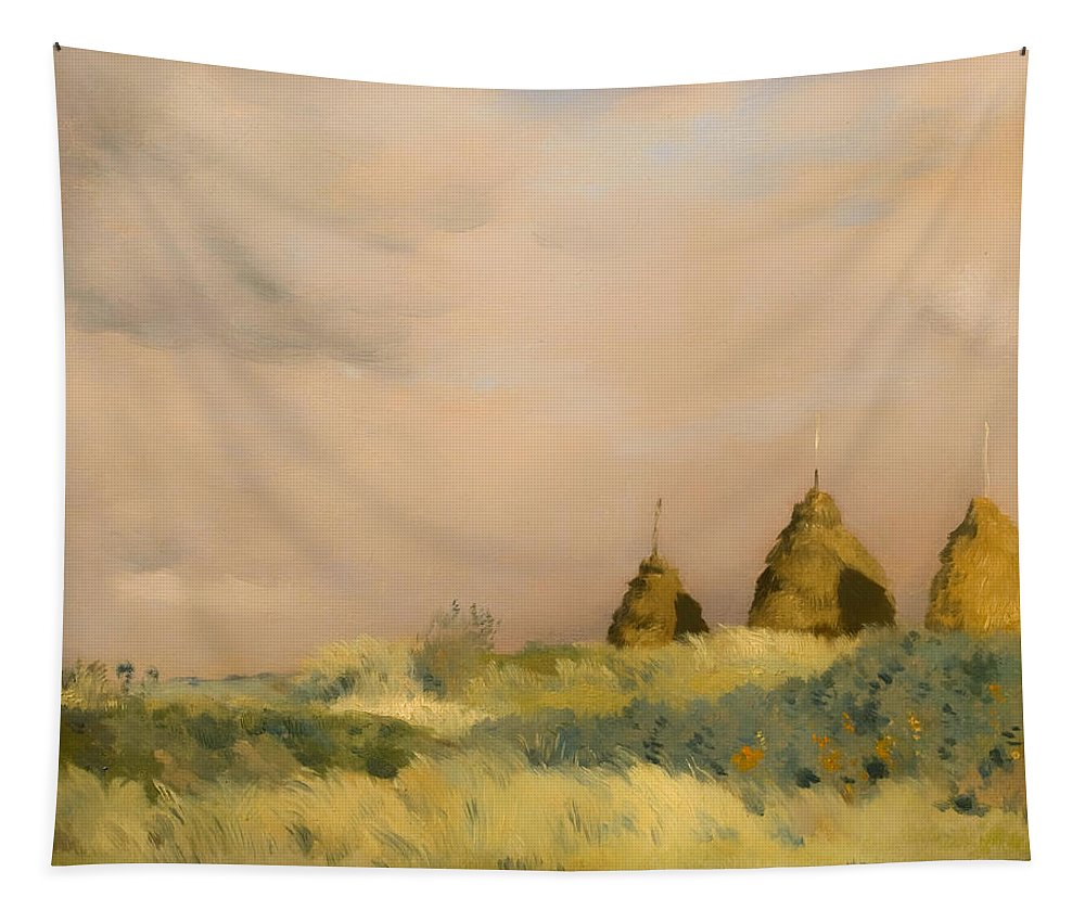 Painting Tapestry featuring the painting The Three Stacks by Mountain Dreams