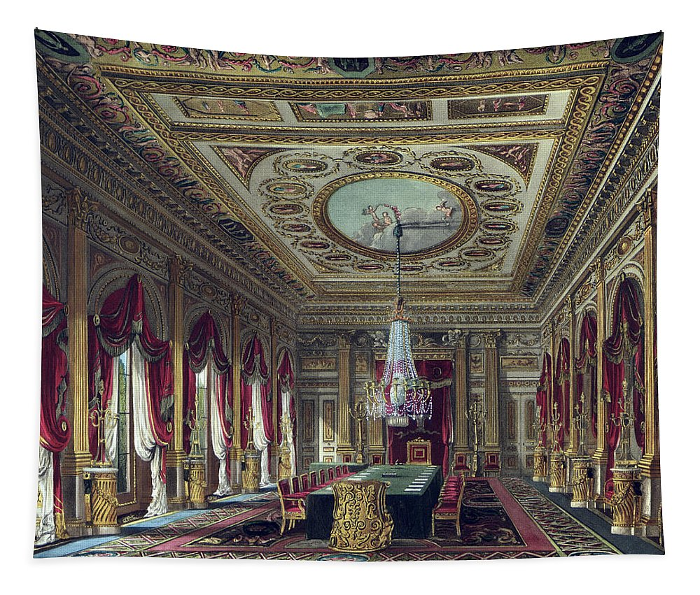 Interior Tapestry featuring the drawing The Throne Room, Carlton House by Charles Wild