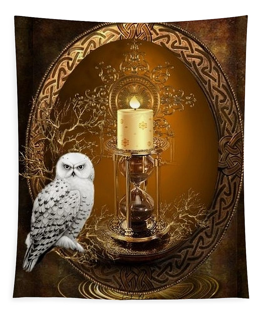 Fantasy Tapestry featuring the digital art The Time Keeper by Ali Oppy