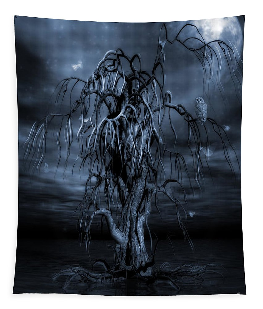 Tree Of Souls Tapestry featuring the painting The Tree Of Sawols Cyanotype by John Edwards
