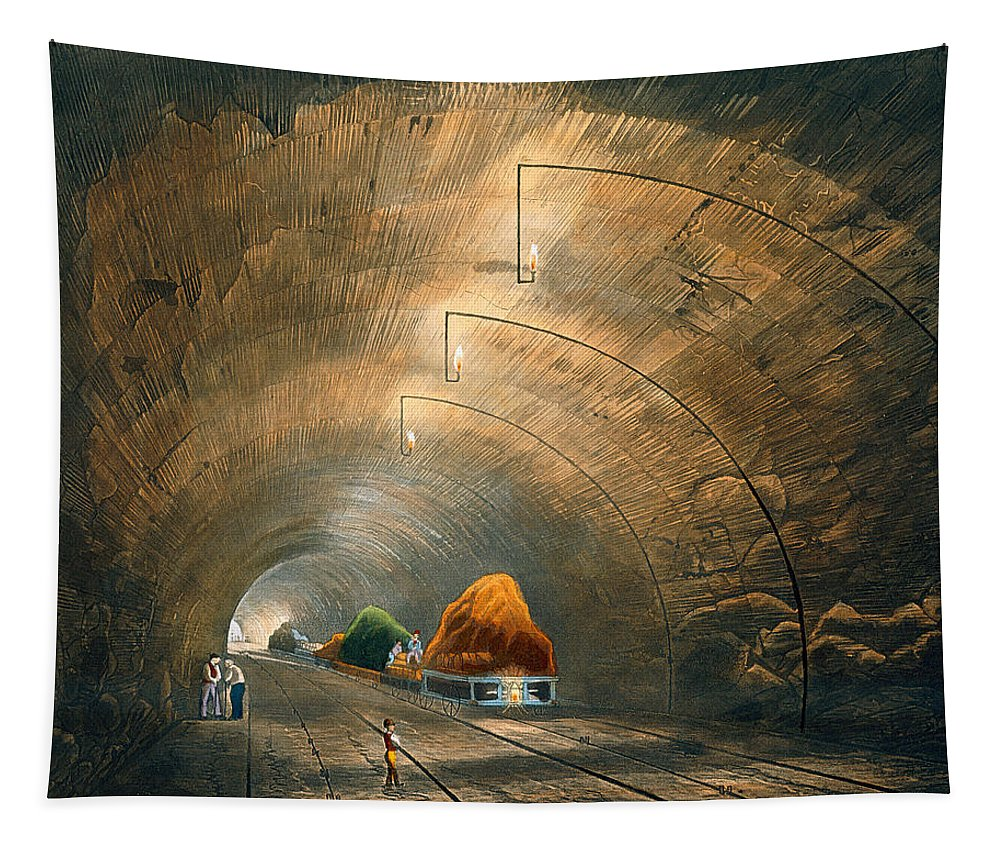 Train Tapestry featuring the drawing The Tunnel, From Coloured View by Thomas Talbot Bury