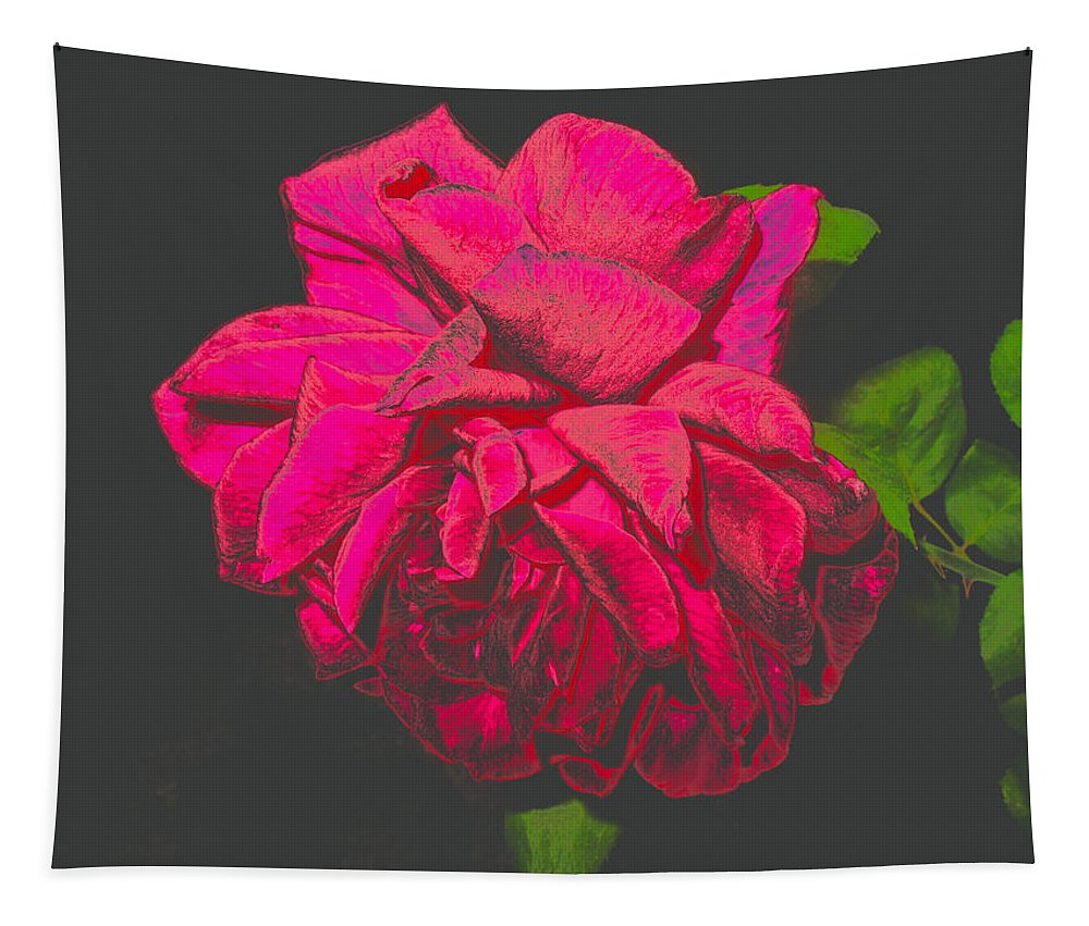 Rose Tapestry featuring the photograph The Ultimate Red Rose by Joyce Dickens