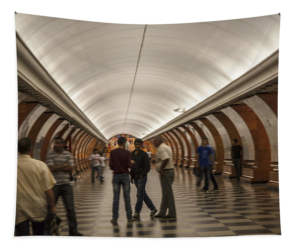 Subway Tapestry featuring the photograph The Underground 1 - Victory Park Metro - Moscow by Madeline Ellis