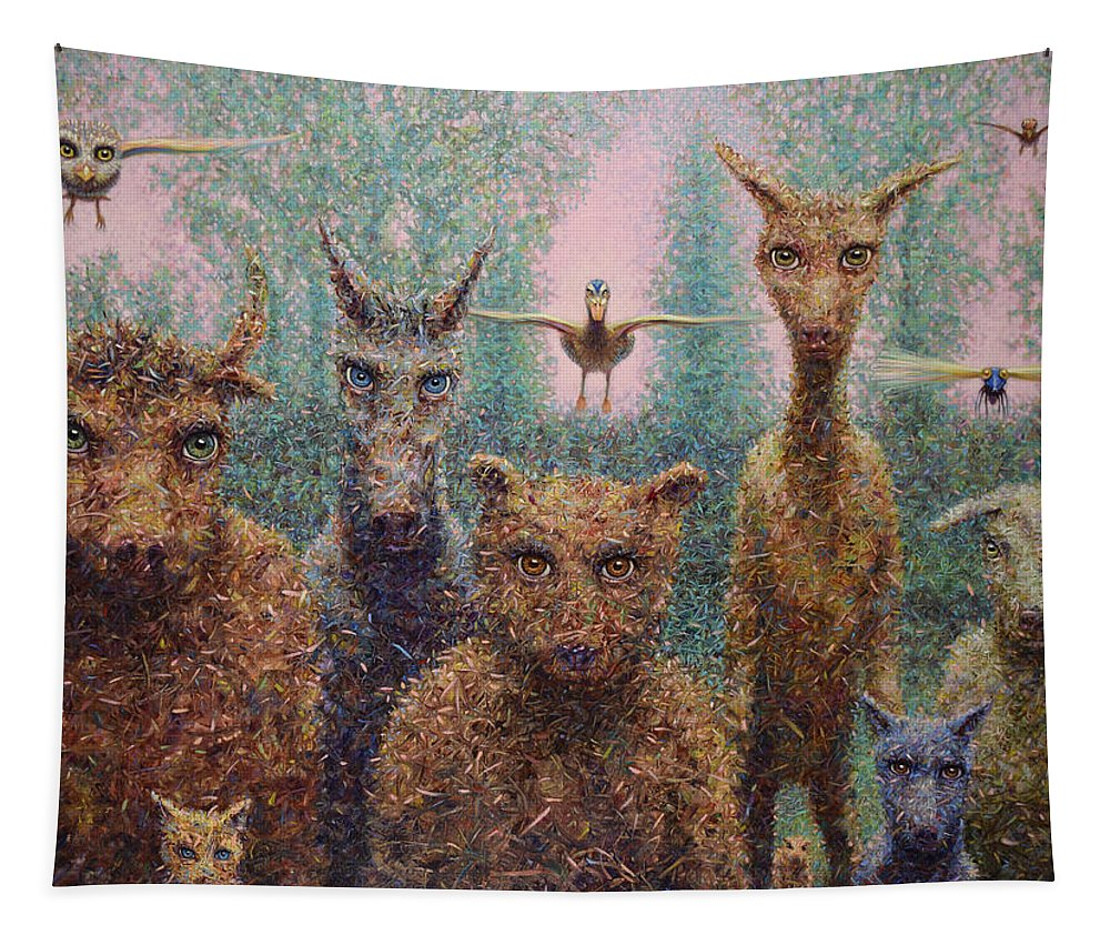 Animals Tapestry featuring the painting The Untamed by James W Johnson
